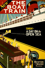 THE BOAT TRAIN vintage travel poster 1925 24X36 old fashion steamship