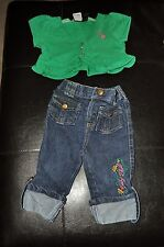 r- CLOTHES BABY SZ 12 M 2 PC BABY PHAT OUTFIT JEANS AND TOP SO CUTE GENTLE USE
