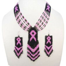 BLACK SEED BEADS PINK RIBBON CANCER AWARENESS BEADED NECKLACE EARRINGS SET