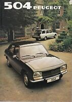 Peugeot 504 UK Market Brochure 1982 Saloon/Estate/Family Estate/GR/GRD 20 Pages