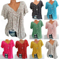 Women Ladies V Neck Loose T Shirt Tops Short Sleeve Summer Floral Baggy Blouse