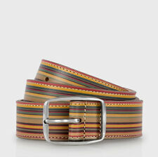BNWT Paul Smith PS SIGNATURE STRIPE LEATHER PEWTER BUCKLE BELT SZ 28