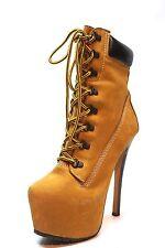 Zigi Girl Z-Jo Hellbraun Leder Schnür High Heel Stiefeletten Damen Größe 7.5 M 299 $*