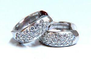 .75ct Natural Diamonds Huggie Hoop Earrings 14 Karat Gold