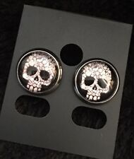 Stud Earrings Kitsch Rockabilly Psychobilly K Sugar Skull Day of the Dead Tattoo