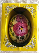 Intermun Hand Painted Floral Pansy Egg from Poland