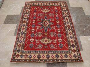 Kazak Super Caucasian Geometric Mahal Veg Dyed Hand Knotted Rug Carpet (6 x 4)'