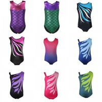 Kids Girls Shiny Ballet Dance Gymnastics Leotards Athletic Tank Suit For  3-14Y