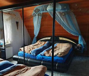 Himmelbett Garnitur Bettkrone + Lampe blau