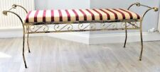 Sitting Bench Linen Padded Indoor Metal Wrought Iron Bench Stool Antique Finish