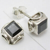 925 Sterling Silver Facetted Black Onyx 1.6 Ct Studs Earrings New Art