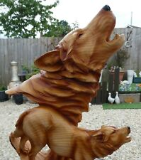 More details for wolf sculpture howling wolves wood effect bust ornament large 38cm tall
