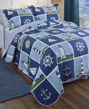 Blue Nautical Beach Lighthouse King Size 3 PC Quilt Set Sailboat Seashore NEW