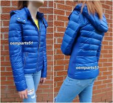 ZARA BLUE SHORT QUILTED FEATHER DOWN ULTRA LIGHTWEIGHT ANORAK  JACKET SIZE XS