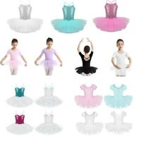 Kids Girls Lyrical Ballet Dance Leotard Dress Gym Tutu Skirts Dancewear Costumes
