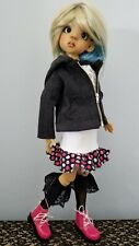 New listing Kaye Wiggs Msd Bjd 7 pc outfit Polka Dot Skirt Jean Jacket Hoodie Jean's boots