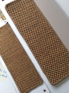 2 Premium Sisal Flat Weave carpet stair pads treads Natural 60cmx20cm