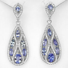 """54 CTS!! ATTRACTIVE!! NATURAL AAA RICH BLUE VIOLET 925 SILVER DANGLE EARRINGS 2"""""""