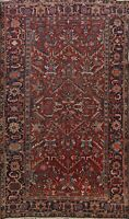 Antique Geometric Heriz Hand-knotted RED Area Rug Classic Oriental 8'x11' Carpet