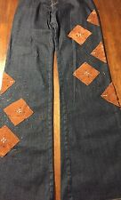 SAWARY Denim Women's 70's Style Flare Vegan Leather Bead Patches Jeans Size 28
