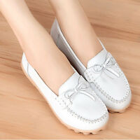 Women's Loafers Casual Leather Shoes Lazy Peas Ballet Driving Walking Flats New