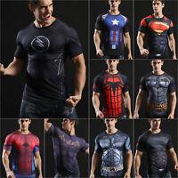 Mens Superhero Compression Slim T-Shirt Cycling Sports Fitness Gym Tee Top Shirt