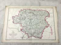 Antique Map Hampshire North County England 19th Century Old Hand Coloured