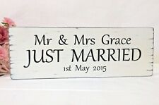 Personalised JUST MARRIED Wedding Sign Gift Idea Shabby Wooden Vintage Chic