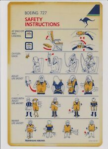 AUSTRALIAN AIRLINES BOEING 727 SAFETY CARD