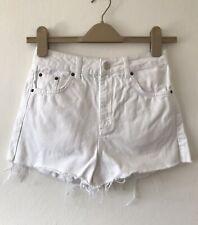 Topshop Moto Mom White High Waist Denim Jean Shorts Size 8