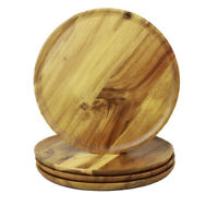 10'' 4Pack Natural Acacia Dinnerware Wooden Plate Durable&Smooth Round Tray Dish