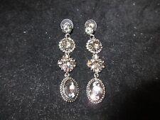 Drop Dangle Vintage Onyx Tone Black Genuine Rhinestone Crystal Earrings SHINY