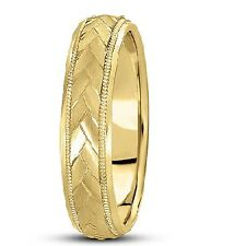 5mm Carved Mens Wedding Ring Band 14k Yellow Gold Satin