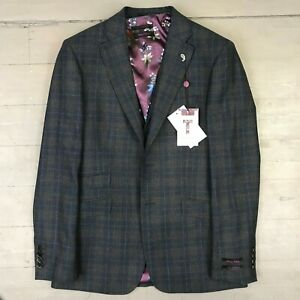 Ted Baker - 3 Piece Navy/Brown Check Suit UK38 - *NEW WITH TAGS* RRP £578
