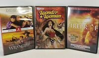 3 Family Friendly DVD Movies FireProof Father's Choice Wrangler Wonder Woman
