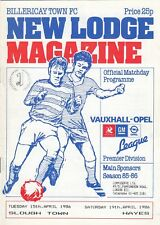 Billericay Town v Slough (15 Apr) + Hayes (19 Apr) 1985/6 Vauxhall-Opel League