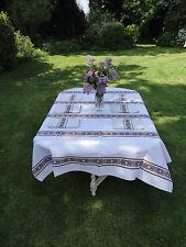 Vintage Beige Brown Linen Tablecloth Napkins Set of 6 Tea Party