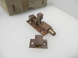 "Vintage Brass Door Lock Sliding Bolt Old Retro Bronze Deco (New old stock) 2.75"""