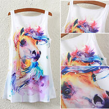 Women's Fashion Summer Handy Horse Printed Sleeveless Vest T-shirt Tank Tops