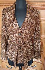 Fashion Bug Leopard Print Jacket Blazer - Size Small - Lined Fabric Belt
