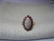 14 Ruby 25 Diamond Engagement Wedding Ring 14K Flower Motif Estate Jewelry
