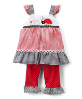 NWT Nannette Girls Ladybug Red Gingham Tunic Ruffle Leggings Outfit Set