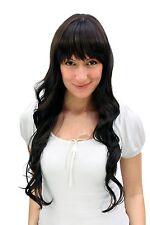Women's Wig Long Dark Brown Braun wavy hair ends Fringe 25 5/8in A40-4