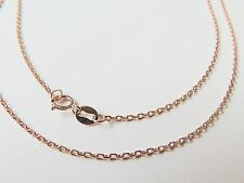 15.7 INCH Pure 18K Rose Gold Necklace - Classic 2mm Cable Link Chain Au750