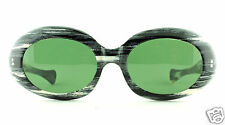 VTG 60's NOS Optique Magnifique Black & White Mod Sunglasses w/ New Green Lenses