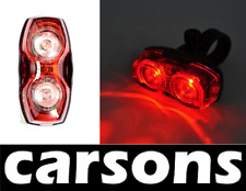 CARSONS rear 2 led bike light set - bright red lamp lights tail waterproof flash