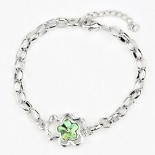 * Reino Unido * Damas Verde Flor Cristal PLT pulsera con dijes de plata de Oso De Peluche Regalo Ideal