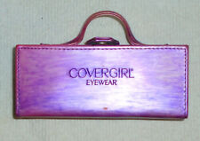 1980's Cover Girl Purple Eyeglass Case Hard Shell Mirror Luggage-Look Style NM