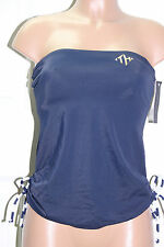 NEW Tommy Hilfiger Side Cinched Bandeau Tankini Top Swimwear XS Navy Strapless