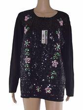 aljssa piu maglia pullover donna nero paillettes stretch taglia xl extra large